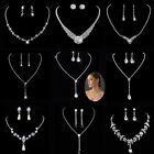 Prom Wedding Silver Diamante Crystal Pearl Necklace Earrings Bridal Jewelry Sets