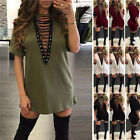 Fashion Women Choker V Neck Casual Loose Tops T-Shirt Lace-up Plunge Mini Dress