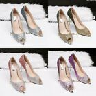 Sequins Peep Toe Pump Color-mixed Stiletto Party High Heel Banquet Womens Shoes