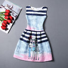 Summer Women's Stripe Yong Girl Printing Sleeveless Cocktail Party A line Dress