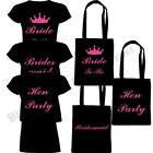 HEN PARTY BRIDE TO BE BRIDESMAID T SHIRT TOP & TOTE BAG PARTY DO GIRLS NIGHT OUT