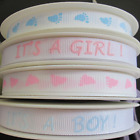 PER METRE IT'S A GIRL/ ITS A BOY RIBBON BABY FEET RIBBON  10mm RIBBON PINK BLUE