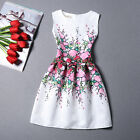 Summer Women's Beautiful Floral Design Sleeveless Party A line Dress Slim Skirt