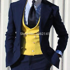 Navy Blue 3 Pieces Groomsman Tuxedos Best Men Formal Business Wedding Prom Suits