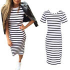Fashion Women Summer Dress Stripe Long Maxi Boho Beach Dress Evening Party Dress