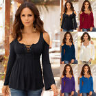 UK Plus size Women Long Sleeve Off Shoulder Lace Up T-Shirt Casual Tops Blouse