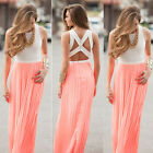 2017 Pink Women Sexy Summer Boho Long Maxi Evening Party Beach Dresses Sundress