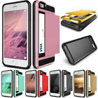 Hybrid Rubber PC Card Slotes Shockproof Case Cover For iPhone 7 Plus 5 S SE 6 6s