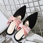 New Arrival Ladies Style Pink Tie Front Mules Slides Pointed Toe Sandals