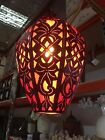 Moroccan Hanging Metal Pendant Lamp with Cloth Insert - Imported Bali #1676