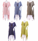 Ladies ITALIAN Lagenlook BOHO Long Double Tunic & necklace~ Linen & Cotton