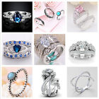 Fashion 925 Silver Natural Blue & White Sapphire Ring Men Women Wedding Jewelry