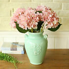5Pcs/bunch Big Head Artificial Hydrangea Fake Flower Real Touch Home Party Decor
