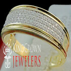 Mens 10K Yellow Gold Pave Eternity Genuine Diamond Wedding Pinky Ring Band 9MM