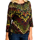 NEW One World Top Sweater Knit Shirt Animal Print Bling Ruched Sides Size Sm