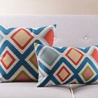18x18''/19x12'' Ikat Style Decorative Linen Cushion Cover Blue Geometric Diamond
