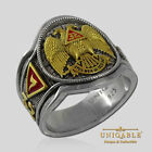 Scottish Rite Masonic Freemason Ring .925 Silver Gold 18K Plated by UNIQABLE