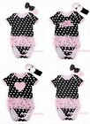 Baby Toddler Black Pink Polka Dot wif Pink Ruffled Lacing Jumpsuit Romper NB-12M