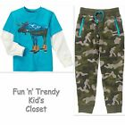 NWT Gymboree BUFFALO LODGE Boys Size 8 10 Camo Jogger Pants & Tee Shirt 2-PC SET