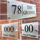 MODERN HOUSE SIGN PLAQUE DOOR NUMBER STREET FROSTED GLASS EFFECT ACRYLIC NAME