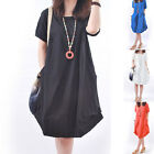 Women's Summer Casual Cotton Dress Short Sleeve Loose SUN Dress Beach Sundress *