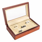 Bey-Berk Wood Cufflink Box with Glass Top and Velour Lining