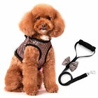 Small Dog Cat Adjustable Gilter Fancy Harness Vest Leash Set Soft Mesh Padded