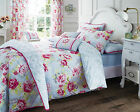 New Duvet Cover Set with Pillow Case Bedding Quilt Set Grey/ Pink Bouquet Design