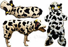 Black & White Cow Dog Winter Costume Jumpsuit W Hood Comfortable Fleece S M