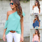 Women Summer Flare Sleeve One Shoulder Loose T Shirt Tops Blouse Shirts Tee S-XL