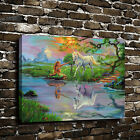 Print Oil Painting Home Decor Art on Canvas Mermaid and Horse Unframed Poster