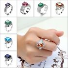New 18K White Gold GP Austrian Crystal Wedding Engagement Ring Elegant Jewelry