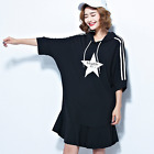 Plus Size Summer Women's Star Printing Hooded Dress Oversize Fit 120-160 pounds