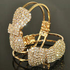 Women Bracelet 18K Gold Plated Chain Crystal Bowknot Cuff Fashion Jewelry