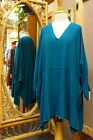 Dairi Moroccan Sousdi Fabric V-Neck Long Tunic Top 2 Pockets One Size Fits L-3X