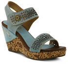 New L'Artiste Women's Sky ALLURA-SKY Leather Wedge Sandals