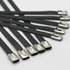 TAINLESS STEEL BLACK COATED METAL CABLE TIES TIE ZIP WRAP EXHAUST HEAT STRAPS
