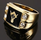 Men's 14k Gold Stainless Steel AAA CZ Masonic Freemason Ring Band Size 6-14