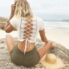 New Women Back Lace Crochet  Short Sleeve Bodycon Club Casual Tank Vest Blouse