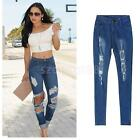 Trendy Boyfriend Style High-Waisted Skinny Ripped Jeans Denim Pants for Women