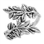 Womens 925 Sterling Silver Vines Leaves Wrap Ring