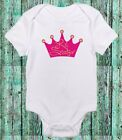 Little Sister Princess Crown Cute Pink Baby Girl Clothes One