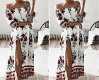 Women Summer Boho Floral Off Shoulder Beach Evening Cocktail Long Maxi Dress
