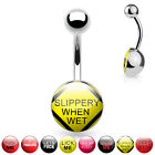 Rude Word Logo 10mm Large Dome Navel Belly Bar Ring - 14GA (1.6MM )