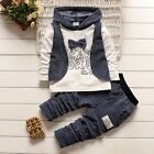 2pcs Baby Kids Boys Gentleman Clothes Cotton Hoodied Top+Pants Outfits Set 6M-4Y