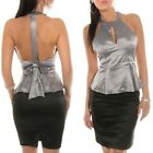 Halter Peplum Top Backless With Bow Satin Look Formal Evening Party
