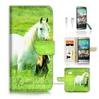 HTC One M9 Wallet Case Cover AJ20202 White Horse