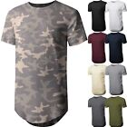 Mens BASIC HIPSTER T Shirts Casual Extended Longline Back Hip Hop Hemline Tee image