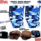 DAM HEAVY DUTY WEIGHTLIFTING KNEE WRIST WRAPS BLUE CAMO BODY BUILDING GYM STRAPS