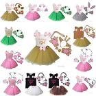 Animal Birthday Girl Tank Ears Headband Bowtie Tail Tutu Paws Costume Outfit